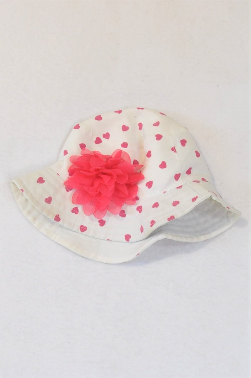 Pep White & Pink Flower And Hearts Sun Hat Girls 6-12 months