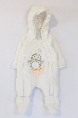 Ackermans White Penguin Winter Hooded Onesie Unisex 0-3 months
