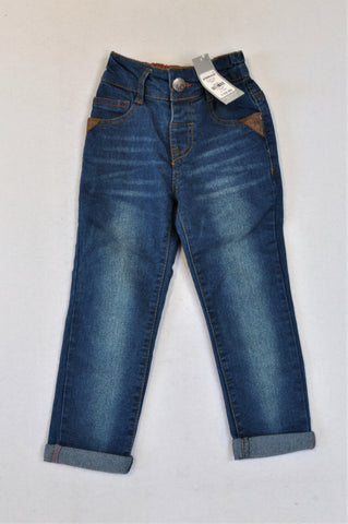New Ackermans Stone Washed Brown Lined Jeans Boys 2-3 years