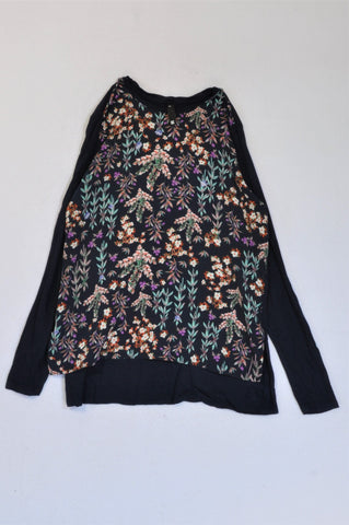 Woolworths Blue Floral Long Sleeve T-shirt Women Size XS