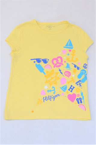 Tommy Hilfiger Yellow Summer Motif Cap Sleeve T-shirt Girls 12-13 years