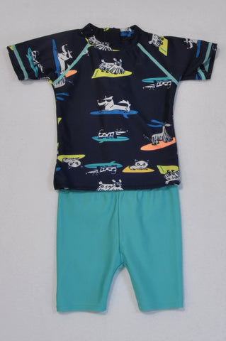 Woolworths Navy Surfing Dogs Rash Vest & Turquoise Shorts Swimsuit Boys 12-18 months