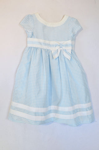 Gymboree Light Blue & White Gingham Bow Dress Girls 6-7 years
