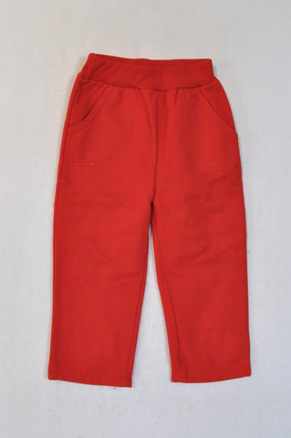 Ackermans Bright Red Banded Track Pants Girls 18-24 months