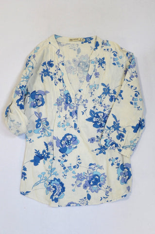 Pick 'n Pay Blue & White Pleated Flower Blouse Women Size XS