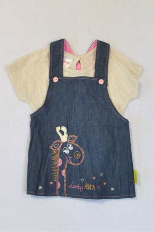 Hooligans Heathered Beige T-shirt And Loving Africa Denim Dress Outfit Girls 1-2 years