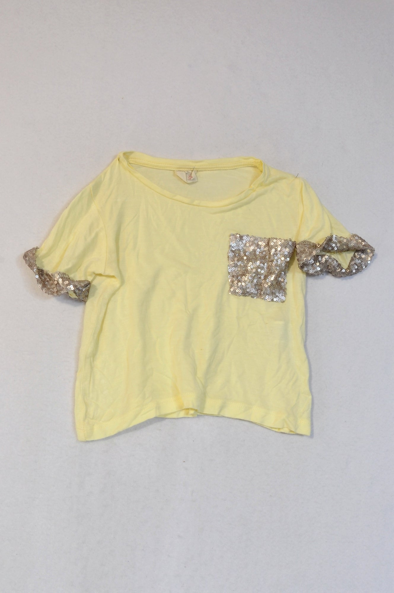 Zara Yellow Sequin Pocket T-shirt Girls 3-4 years
