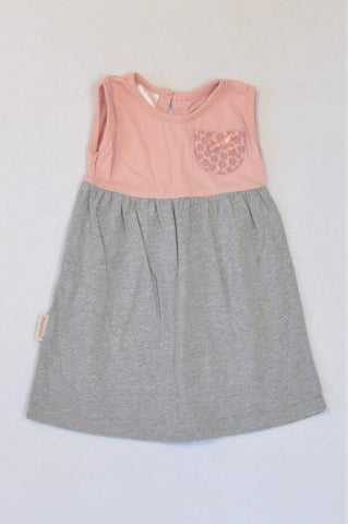 Hooligans Heathered Grey And Pink Bodice Pocket Dress Girls 1-2 years