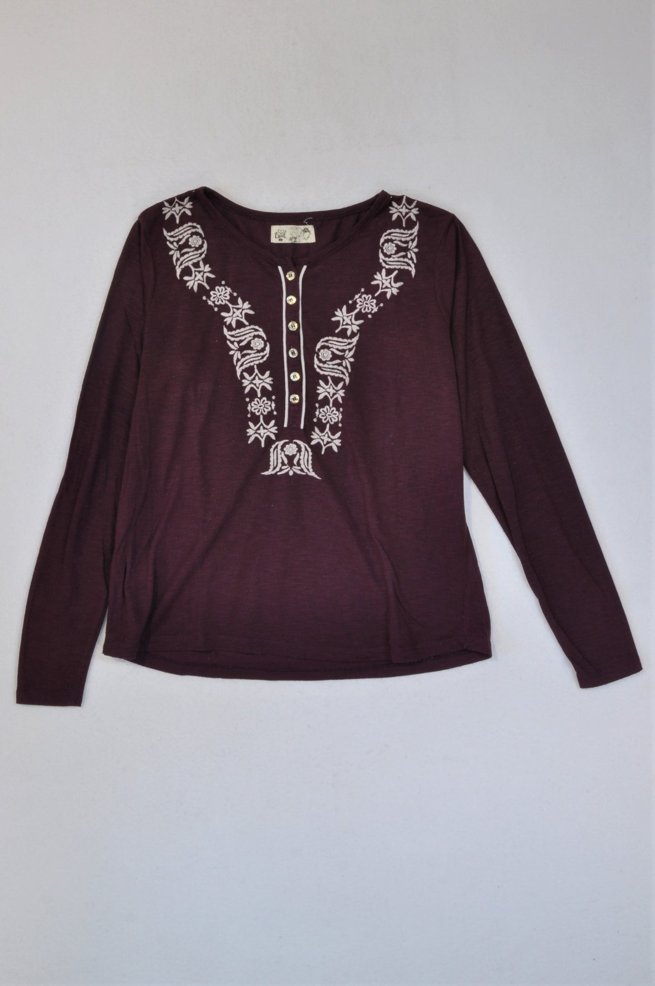 Trail Maroon White Embroidered Pattern Long Sleeve T-shirt Women Size 14