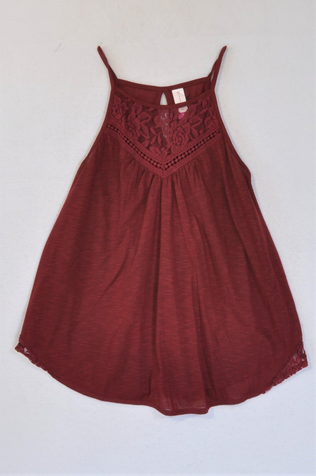 No Boundaries Maroon Lace Inset Strappy Tank Top Women Size M