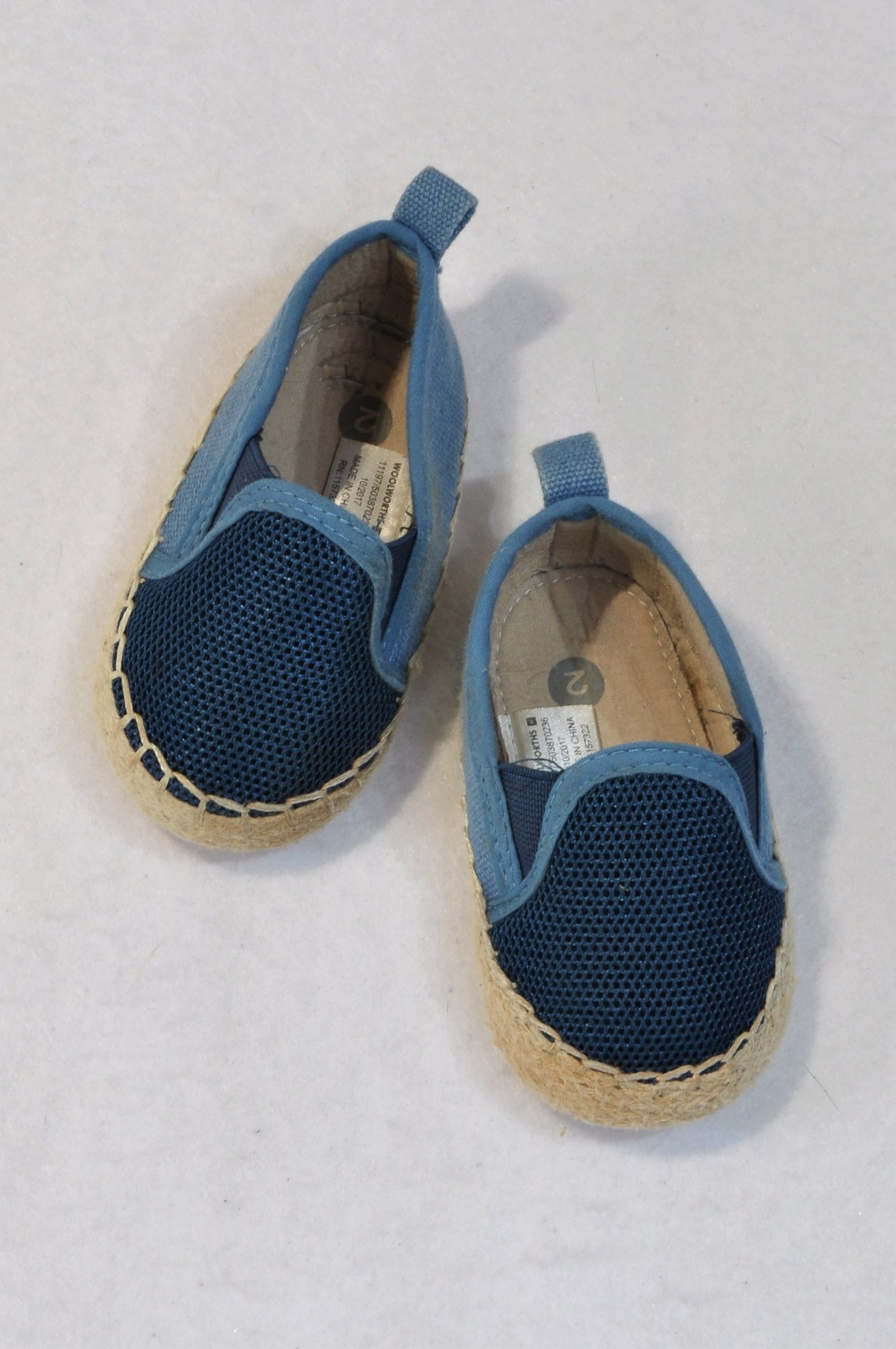 Woolworths Size 2 Blue Mesh Espadrille Shoes Boys 6-9 months
