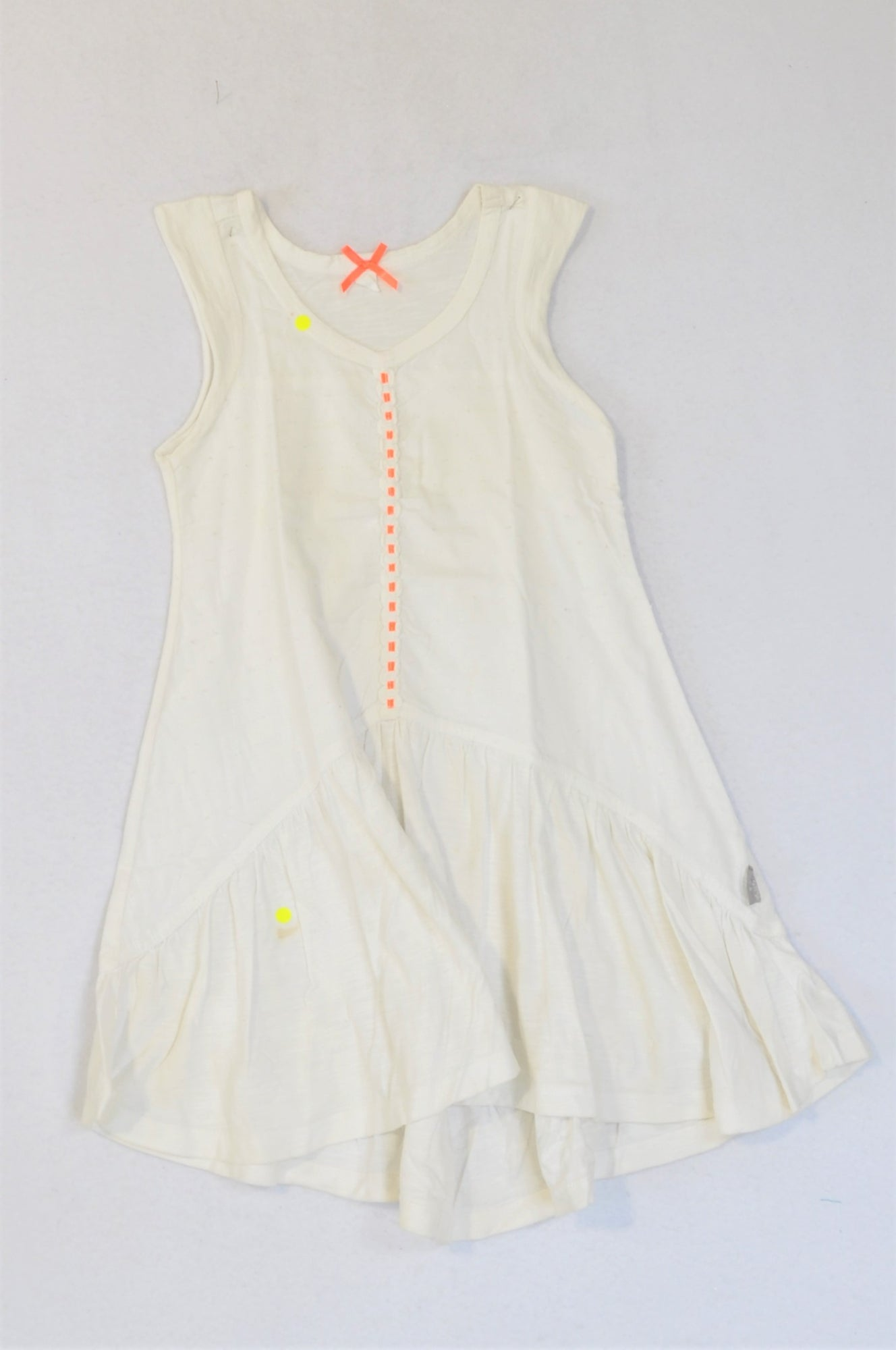 Unbranded White With Neon Detail Dress Girls 4-5 years