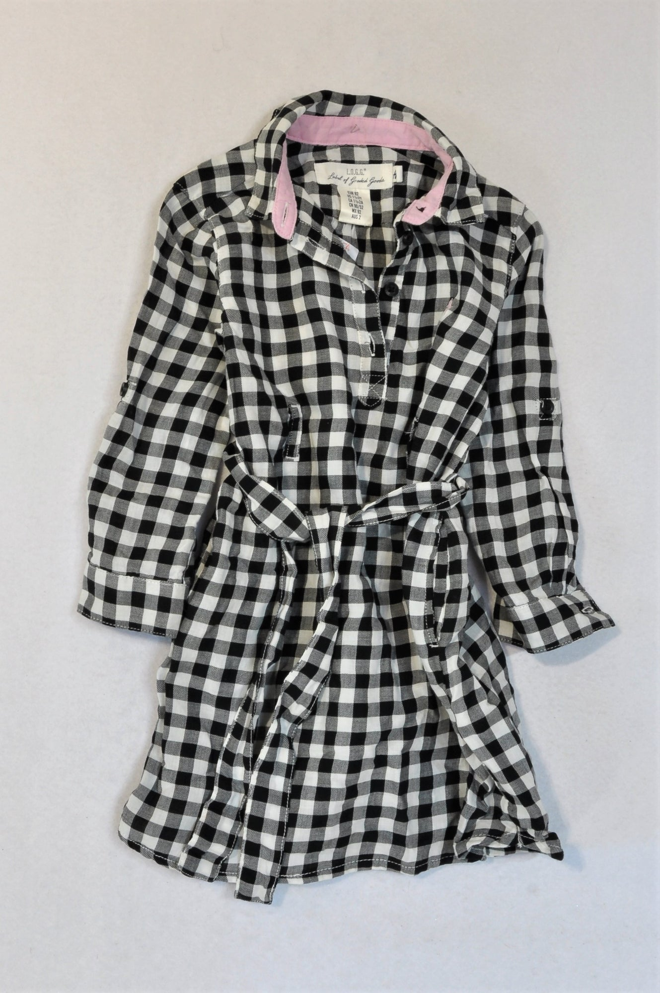 H&M Black & White Check Shirt Dress Girls 18-24 months