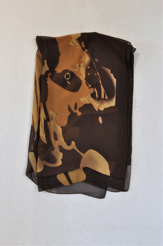 Unbranded Brown Watercolor Sheer Scarf Women