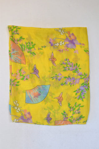 Unbranded Yellow Flower Lightweight Scarf Women