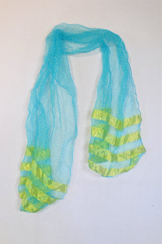 New Unbranded Aqua & Light Green Sheer Scarf Women