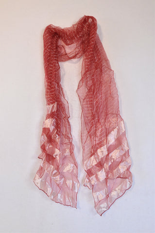 Unbranded Red & Silver Sheer Scarf Women