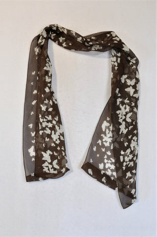 Unbranded Brown & White Butterfly Sheer Scarf Women