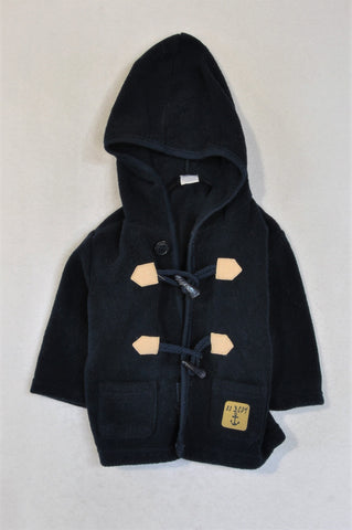 Ackermans Navy Fleece Hooded Toggle Coat Unisex 0-3 months