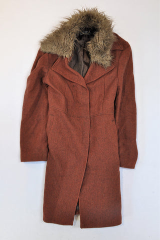 Oaktree Red Herringbone Faux Fur Hood Coat Women Size 36