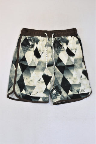 Trail Brown Trim Triangle Mountain Swim Shorts Boys 11-12 years