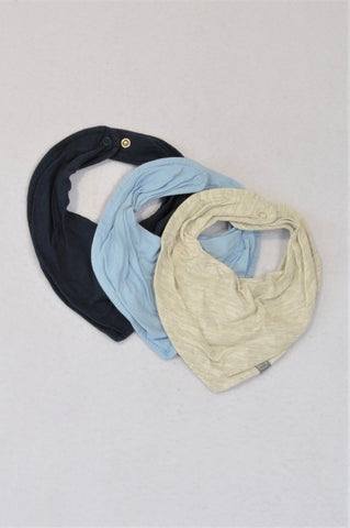 H&M Set Of 3 Light Blue, Navy, Grey Bibs Boys N-B to 1 year