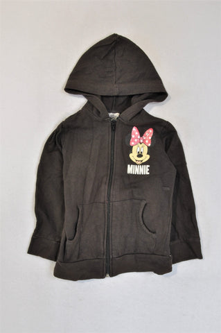Unbranded Faded Black Zipper Minnie Mouse Hoodie Girls 4-5 years