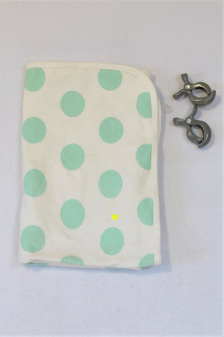 Dreambaby White With Mint Polka Dots With 2 Clips Blanket Unisex N-B to 1 year