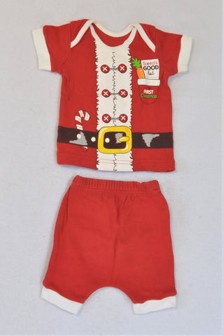 Woolworths Red My First Christmas Top And Bottoms Outfit Boys 0-3 months