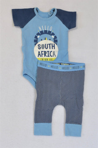 Woolworths Blue Hello Baby Grow And Leggings Outfit Boys 0-3 months