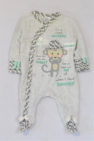 Pick 'n Pay Heathered Grey Monkey Onesie Boys 0-3 months