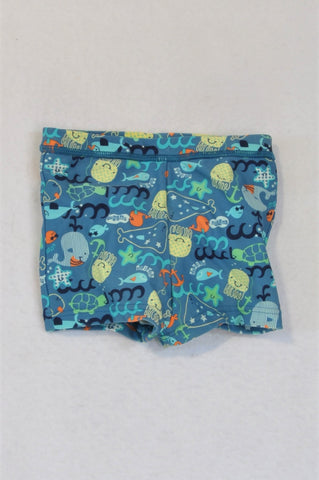 Marks & Spencers Sea Creatures Swim Shorts Boys 9-12 months