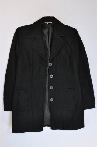Woolworths Wool Blend Black Coat Women Size 12