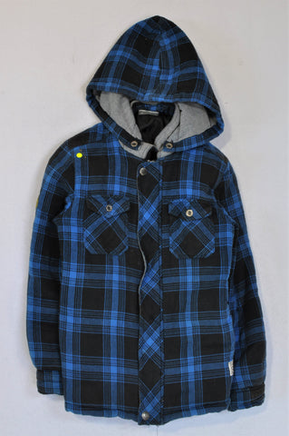 JBR Blue Checkered With Removable Hood Jacket Boys 9-10 years