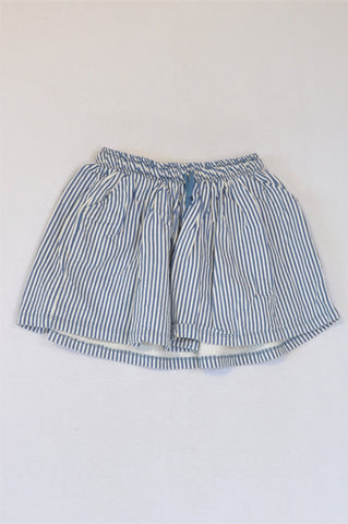 Woolworths Blue White Pinstripe Skirt Girls 7-8 years