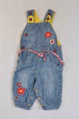 Marks & Spencers Denim Flower Embroidered Lined Dungarees Girls 6-9 months