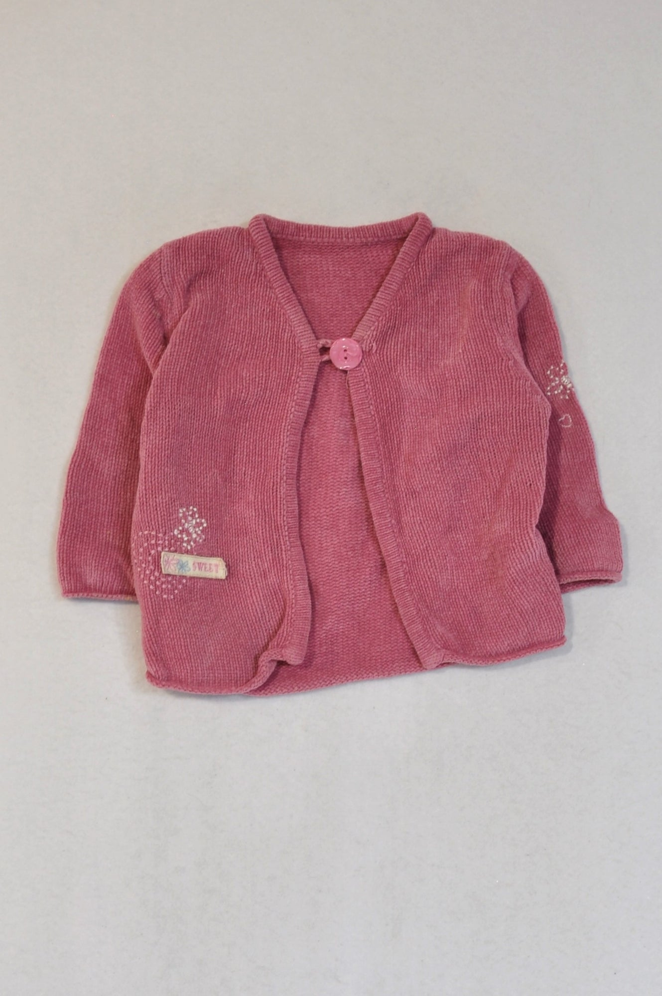 Unbranded Dusty Pink Crochet Cardigan Girls 6-9 months