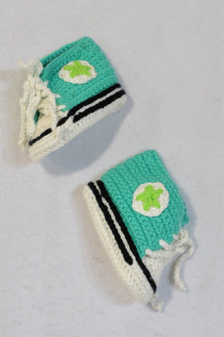 Handmade Turquoise High Top Crocheted Shoes Unisex 3-6 months