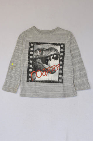 Woolworths Heathered Grey T-Rex Long Sleeve T-shirt Boys 5-6 years