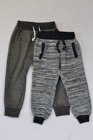 Mr. Price Set Of 2 Heathered Grey And Marled Black Trim Track Pants Boys 3-4 years