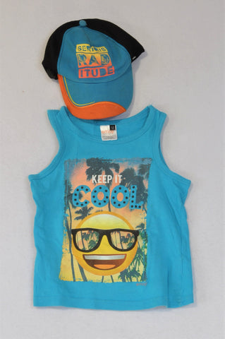 Emoji Blue Keep It Cool Tank Top And Blue And Orange Hat Outfit Boys 3-4 years
