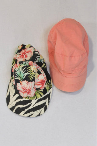 Woolworths Set Of 2 Pink Paper Boy And Black Floral Peak Hats Women One Size