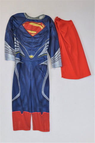 George Superman Costume With Cape Dress Up Outfit Boys 3-4 years
