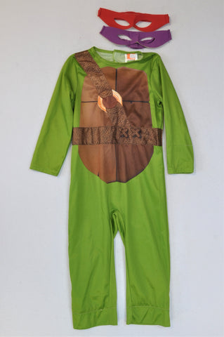Nickelodeon TMNT Costume With 2 Masks Outfit Dress Up Unisex 3-4 years