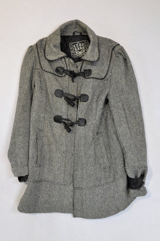Last Kiss Black & White Herringbone Lined Coat Women Size S