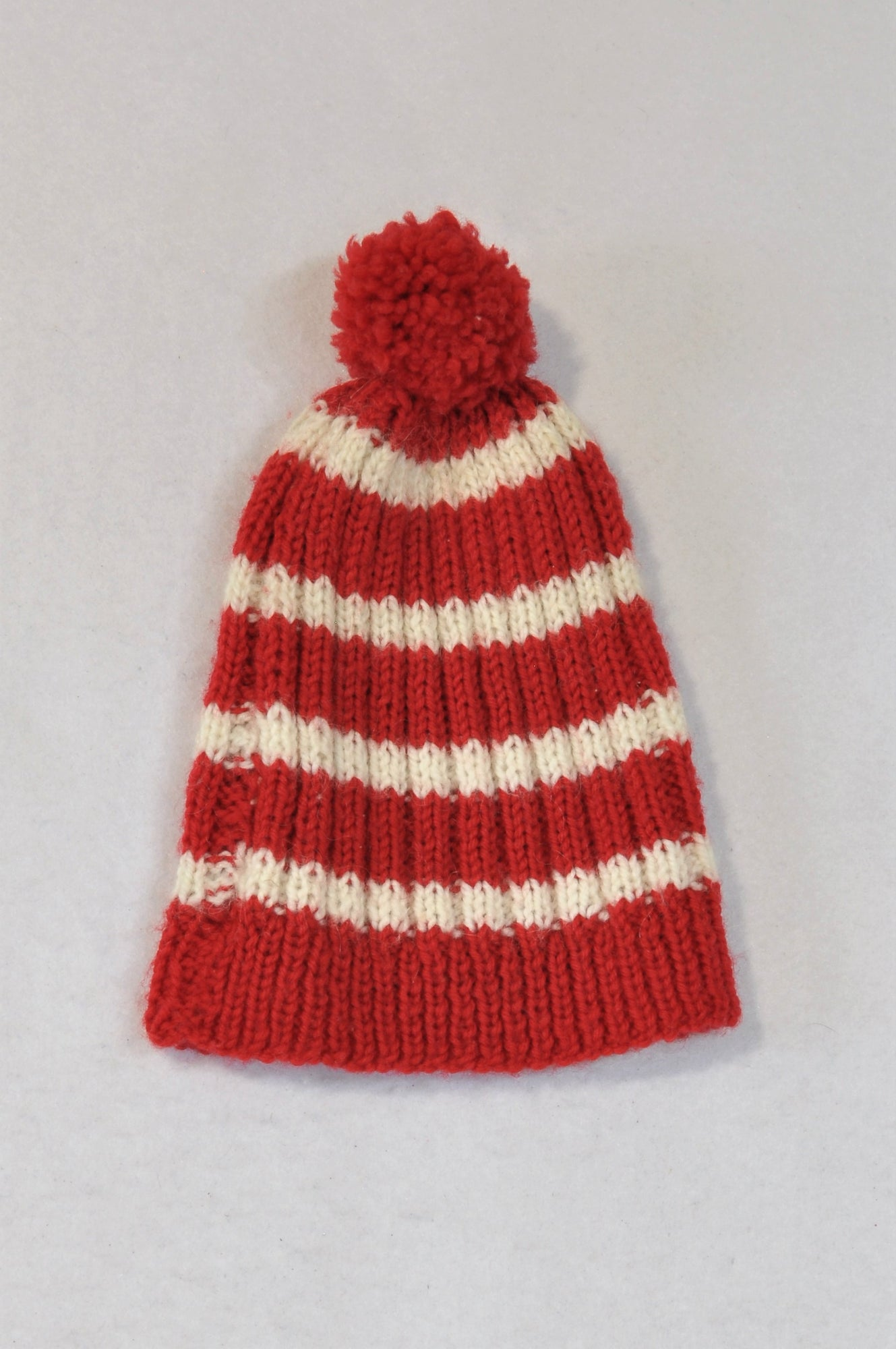 Unbranded Red & White Striped Pom Pom Beanie Unisex 2-4 years