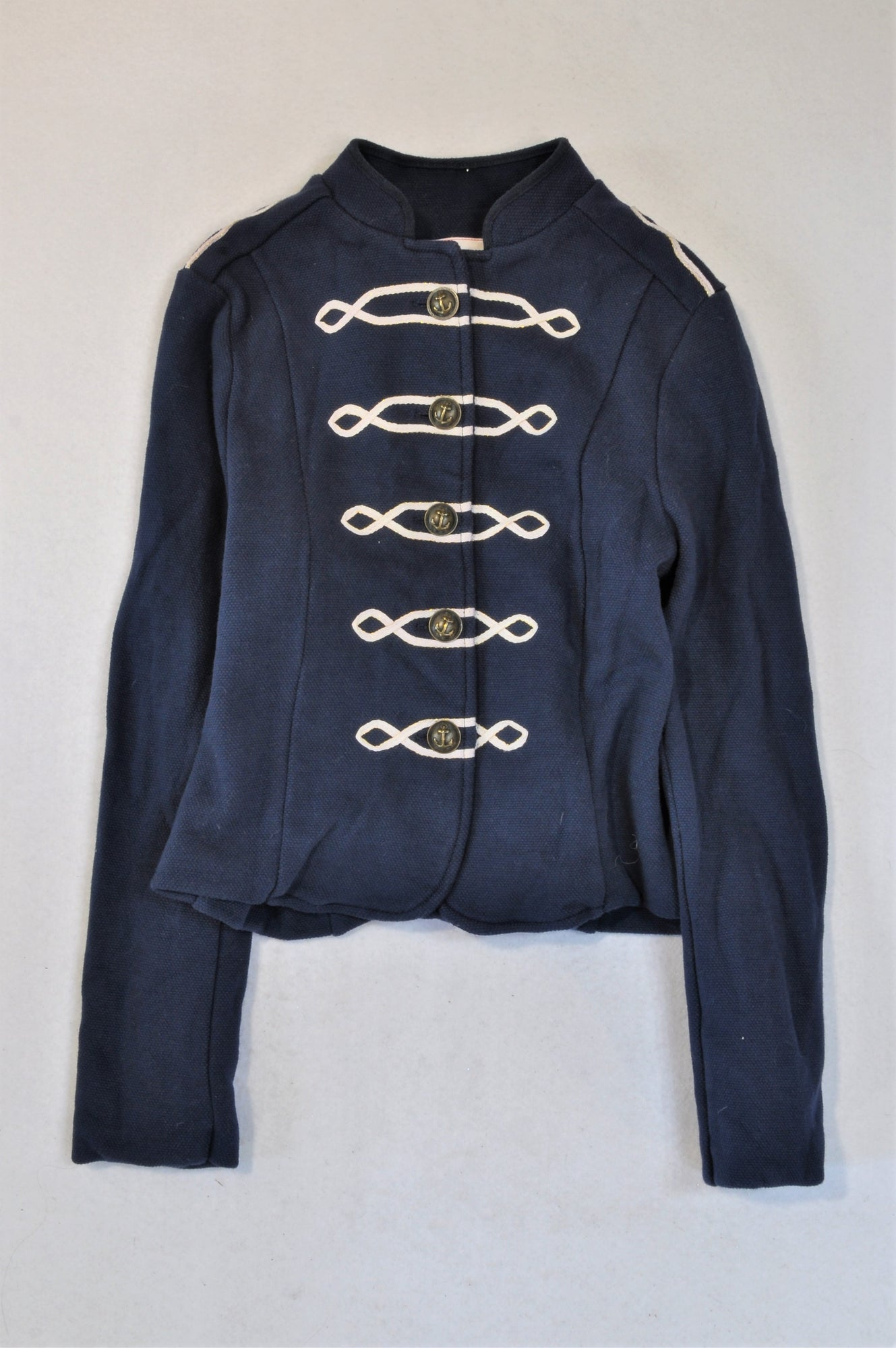 Johnnie B Navy & White Marching Band Anchor Button Detail Jacket Girls 11-12 years
