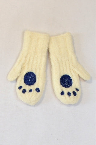 Unbranded White & Blue Paw Print Fuzzy Mittens Women or Unisex 7-14 years