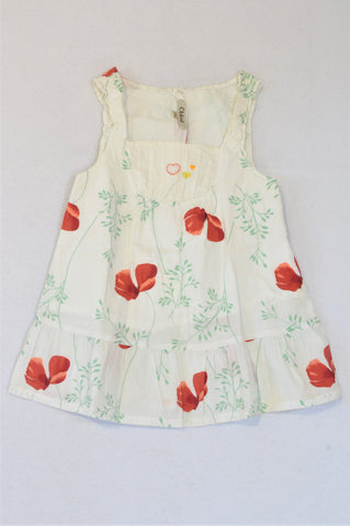 Chloe White Poppies Dress Girls 1-2 years