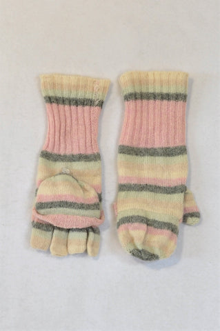 Accessorize Pink, Grey & Ivory Striped Fingerless Gloves Mittens Women & Girls 7+ years